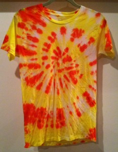 orange, yellow and white tie dye t-shirt