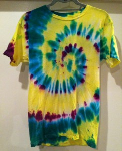 yellow, turquoise and green tie dye t-shirt