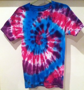 red/fuchsia/blue and white tie dye t-shirt