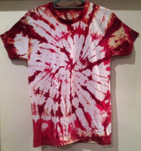 red/fuchsia and white tie dye t-shirt