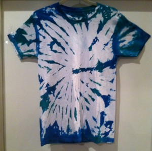 blue and white tie dye tshirt