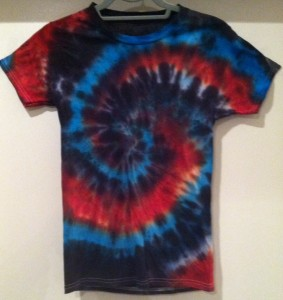 Blue and red tie dye t-shirt